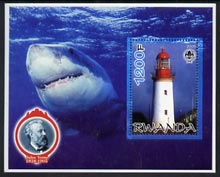 Rwanda 2005 Lighthouses perf m/sheet #03 with Scout Logo, background shows Seals & Baden Powell, unmounted mint
