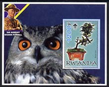 Rwanda 2005 Bonsai Tree perf m/sheet with Scout Logo, background shows Owl & Baden Powell unmounted mint