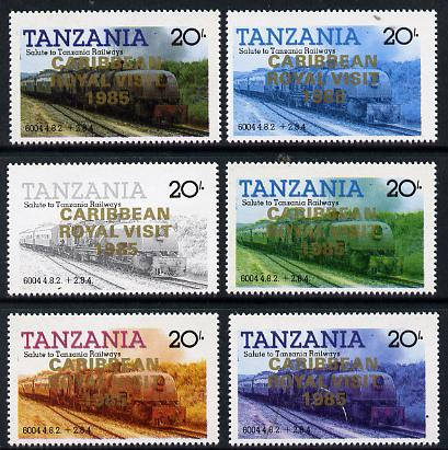 Tanzania 1985 Locomotive 6004 20s value (SG 432) unmounted mint perf set of 6 progressive colour proofs each with 'Caribbean Royal Visit 1985' opt in gold*