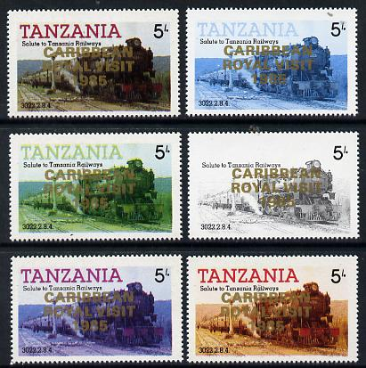 Tanzania 1985 Locomotive 3022 5s value (SG 430) unmounted mint perf set of 6 progressive colour proofs each with 'Caribbean Royal Visit 1985' opt in gold*