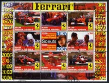 Antigua - Redonda 2005 Scout Anniversaries - Ferrari Racing Cars #02 perf sheetlet containing set of 8 values plus label fine cto used