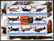 Antigua - Redonda 2005 Scout Anniversaries - Aircraft #02 perf sheetlet containing set of 8 values plus label fine cto used