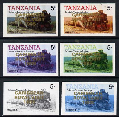 Tanzania 1985 Locomotive 3022 5s value (SG 430) unmounted mint imperf set of 6 progressive colour proofs each with 'Caribbean Royal Visit 1985' opt in gold*