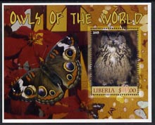 Liberia 2005 Owls of the World #02 perf m/sheet with Butterfly in background fine cto used