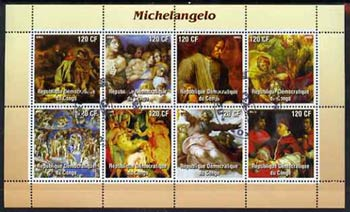 Congo 2003 Paintings by Michelangelo perf sheetlet containing 8 values fine cto used