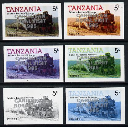 Tanzania 1985 Locomotive 3022 5s value (SG 430) unmounted mint imperf set of 6 progressive colour proofs each with