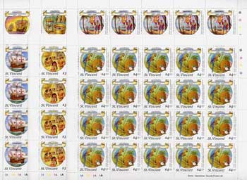 St Vincent 1988 Columbus perf set of 6 in complete unmounted mint sheets of 20, SG 1125-30.