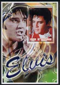 Myanmar 2001 Elvis Presley #1 perf m/sheet containing 1 x 500k value unmounted mint