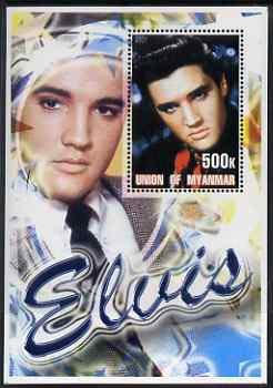 Myanmar 2001 Elvis Presley #2 perf m/sheet containing 1 x 500k value unmounted mint