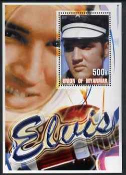 Myanmar 2001 Elvis Presley #3 perf m/sheet containing 1 x 500k value unmounted mint