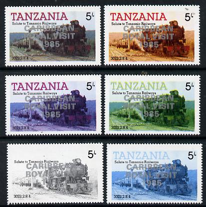 Tanzania 1985 Locomotive 3022 5s value (SG 430) unmounted mint perf set of 6 progressive colour proofs each with 'Caribbean Royal Visit 1985' opt in silver*