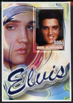Myanmar 2001 Elvis Presley #5 perf m/sheet containing 1 x 500k value unmounted mint