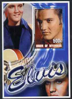 Myanmar 2001 Elvis Presley #6 perf m/sheet containing 1 x 500k value unmounted mint