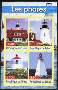 Chad 2003 Lighthouses #3 imperf sheetlet containing 4 values unmounted mint