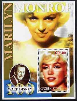 Uzbekistan 2002 Marilyn Monroe & Walt Disney Centenary #04 perf m/sheet unmounted mint
