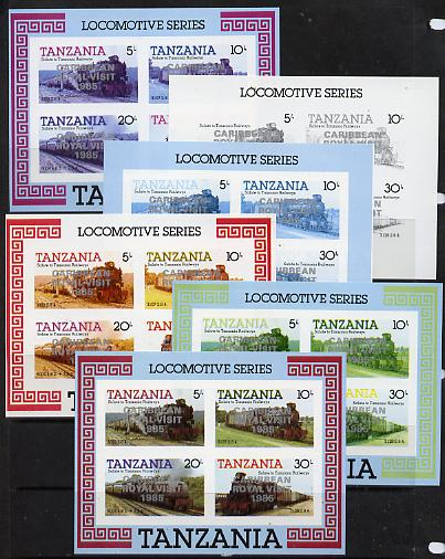 Tanzania 1985 Locomotives m/sheet (as SG MS 434) unmounted mint imperf set of 6 progressive colour proofs each with