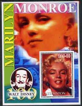 Uzbekistan 2002 Marilyn Monroe & Walt Disney Centenary #11 perf m/sheet unmounted mint