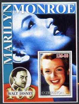 Uzbekistan 2002 Marilyn Monroe & Walt Disney Centenary #12 perf m/sheet unmounted mint
