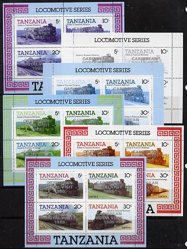 Tanzania 1985 Locomotives m/sheet (as SG MS 434) unmounted mint perf set of 6 progressive colour proofs each with 'Caribbean Royal Visit 1985' opt in silver