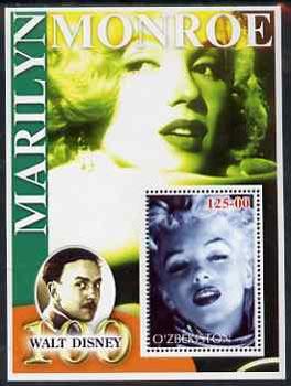 Uzbekistan 2002 Marilyn Monroe & Walt Disney Centenary #15 perf m/sheet unmounted mint