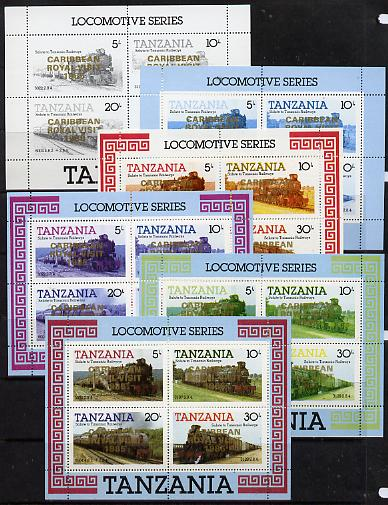 Tanzania 1985 Locomotives m/sheet (as SG MS 434) unmounted mint perf set of 6 progressive colour proofs each with