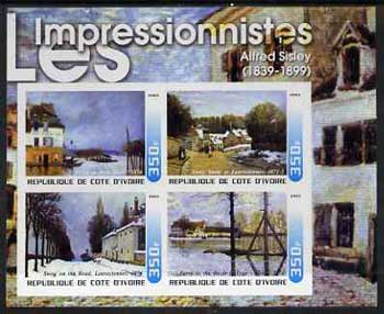 Ivory Coast 2003 Art of the Impressionists - Paintings by Alfred Sisley imperf sheetlet containing 4 values unmounted mint
