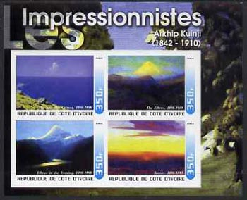Ivory Coast 2003 Art of the Impressionists - Paintings by Atkhip Kuinji imperf sheetlet containing 4 values unmounted mint