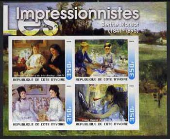 Ivory Coast 2003 Art of the Impressionists - Paintings by Berthe Morisot imperf sheetlet containing 4 values unmounted mint