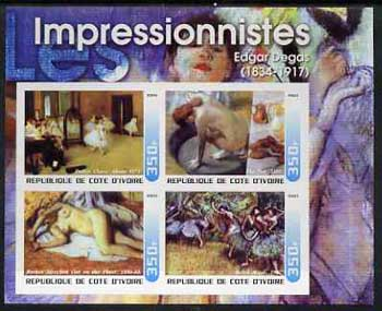Ivory Coast 2003 Art of the Impressionists - Paintings by Edgar Degas imperf sheetlet containing 4 values unmounted mint
