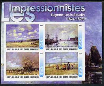 Ivory Coast 2003 Art of the Impressionists - Paintings by Eugene-Louis Boudin imperf sheetlet containing 4 values unmounted mint