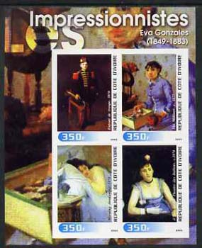Ivory Coast 2003 Art of the Impressionists - Paintings by Eva Gonzales imperf sheetlet containing 4 values unmounted mint