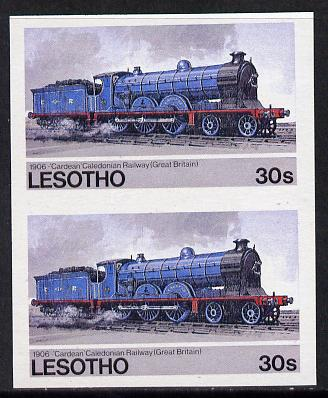 Lesotho 1984 Railways of the World 30s Caledonian Railway imperf pair unmounted mint (as SG 607) unlisted by SG