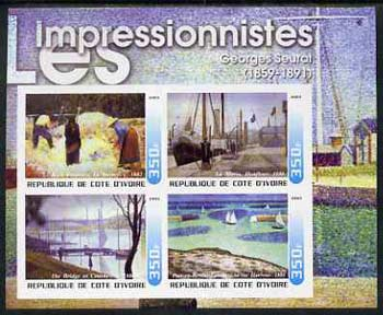 Ivory Coast 2003 Art of the Impressionists - Paintings by Georges Seurat imperf sheetlet containing 4 values unmounted mint