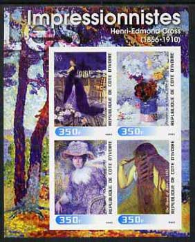 Ivory Coast 2003 Art of the Impressionists - Paintings by Henri-Edmond Cross imperf sheetlet containing 4 values unmounted mint