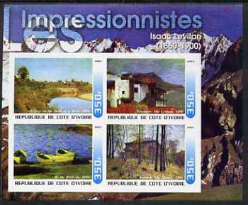 Ivory Coast 2003 Art of the Impressionists - Paintings by Isaac Levitan imperf sheetlet containing 4 values unmounted mint