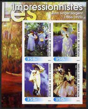 Ivory Coast 2003 Art of the Impressionists - Paintings by John Singer Sargent imperf sheetlet containing 4 values unmounted mint