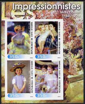 Ivory Coast 2003 Art of the Impressionists - Paintings by Mary Cassatt imperf sheetlet containing 4 values unmounted mint