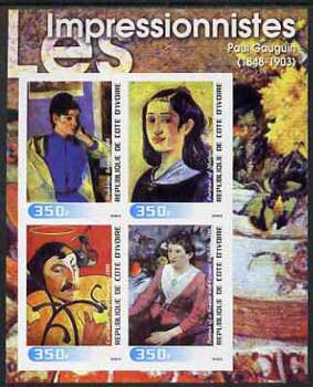 Ivory Coast 2003 Art of the Impressionists - Paintings by Paul Gauguin imperf sheetlet containing 4 values unmounted mint