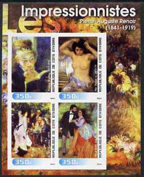 Ivory Coast 2003 Art of the Impressionists - Paintings by Pierre-Auguste Renoir imperf sheetlet containing 4 values unmounted mint