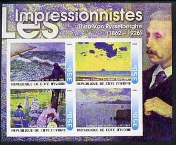 Ivory Coast 2003 Art of the Impressionists - Paintings by Theo Van Rysselberghe imperf sheetlet containing 4 values unmounted mint