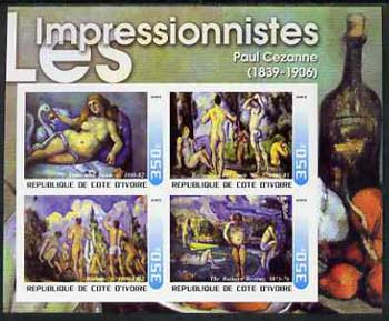 Ivory Coast 2003 Art of the Impressionists - Paintings by Paul Cezanne imperf sheetlet containing 4 values unmounted mint