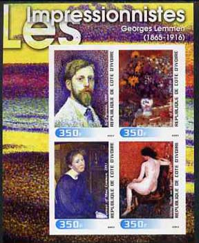 Ivory Coast 2003 Art of the Impressionists - Paintings by Georges Lemmen imperf sheetlet containing 4 values unmounted mint