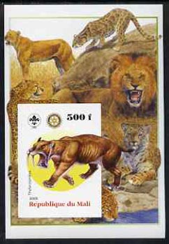Mali 2005 Dinosaurs #02 - Thylacosmilus (Sabre Toothed Tiger) imperf m/sheet with Scout & Rotary Logos, background shows various Big Cats unmounted mint