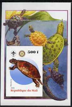 Mali 2005 Dinosaurs #05 - Meiolonia imperf m/sheet with Scout & Rotary Logos, background shows various Turtles unmounted mint