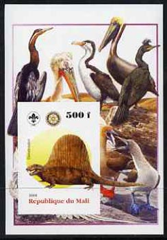 Mali 2005 Dinosaurs #07 - Dimetrodon imperf m/sheet with Scout & Rotary Logos, background shows various Birds unmounted mint