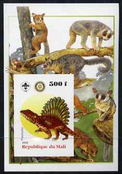 Mali 2005 Dinosaurs #08 - Platyhystix imperf m/sheet with Scout & Rotary Logos, background shows various Lemurs unmounted mint