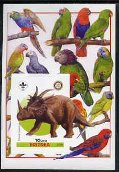 Eritrea 2005 Dinosaurs #03 - Styracosaurus imperf m/sheet with Scout & Rotary Logos, background shows various Parrots unmounted mint