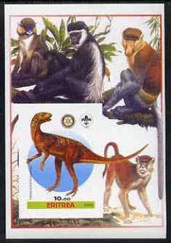 Eritrea 2005 Dinosaurs #04 - Heterodontosaurus imperf m/sheet with Scout & Rotary Logos, background shows various Apes unmounted mint