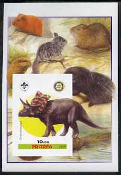 Eritrea 2005 Dinosaurs #07 - Chasmosaurus imperf m/sheet with Scout & Rotary Logos, background shows various Rodents unmounted mint