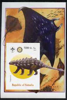 Somalia 2005 Dinosaurs #01 - Talarurus imperf m/sheet with Scout & Rotary Logos, background shows various Fish unmounted mint